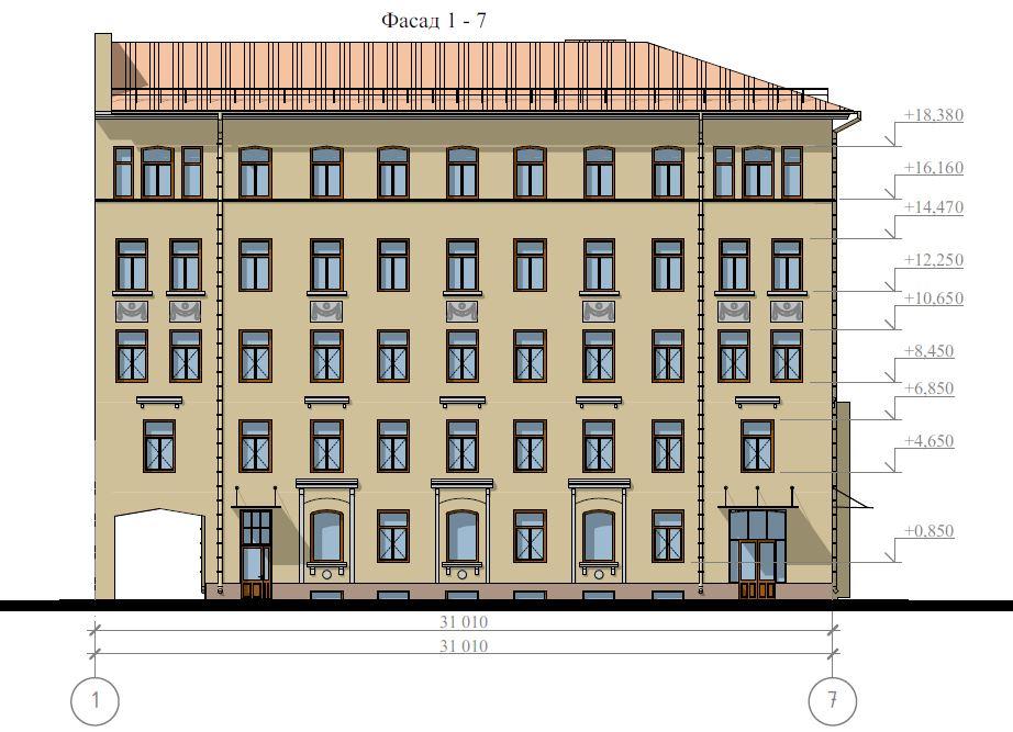 Проект фасада здания в исторической части города Санкт-Петербург