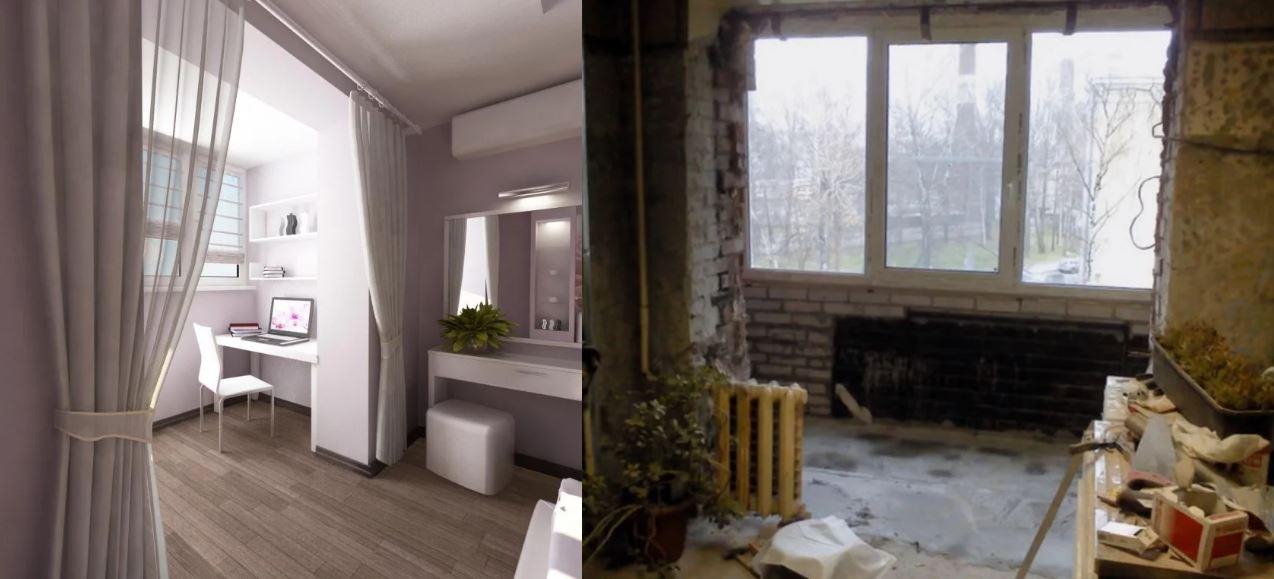Расширение пространство за счёт балкона