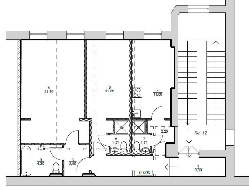 Пример разделения квартиры на 3 студии